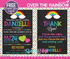 Rainbow invitation, rainbow birthday invitation, rainbow party invitation, first birthday, over the rainbow invitation + FREE THANK YOU Card by QueensnKingsPS on Etsy https://www.etsy.com/listing/241495395/rainbow-invitation-rainbow-birthday