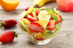 What better way to end a late spring luncheon than with this Fruit Salad with Lime Simple Syrup? Juicy and sweet, this treat is also great when served alongside breakfast. Fresh Fruit Salad, Fruit Salads, Banana, Simple Syrup, Summer Desserts, Summer Salads, Appetizers, Appetizer Ideas, Ideas