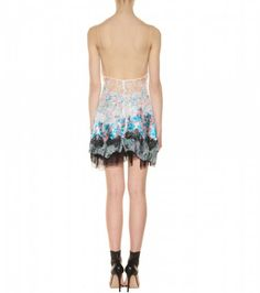 Nina Ricci Printed Silk Dress with Lace - Lyst