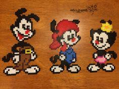 The Animaniacs : Yakko , Wakko and Dot perler beads by RockerDragonfly