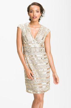 Guilia Sequin Overlay Sheath Dress