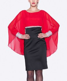 Another great find on #zulily! Red & Black Embellished Cape-Sleeve Dress #zulilyfinds