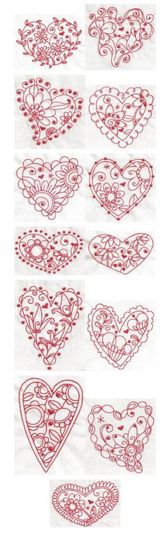 Whimsical Hearts Redwork machine embroidery designs - would be cute hand embroidery designs! Embroidery Applique, Cross Stitch Embroidery, Machine Embroidery Designs, Embroidery Patterns, Embroidery Hearts, Be My Valentine, Valentines Hearts, Needlework, Needlepoint Stitches