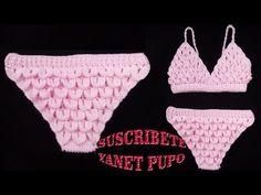 COMO TEJER BIKINI A CROCHET - YouTube Bikinis Crochet, Lana, Swimwear, Videos, Youtube, Fashion, Hibiscus, Beachwear Fashion, Vestidos