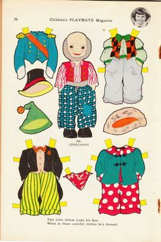Mr. Leprechaun - Children's Playmate, March 1955 * 1500 free paper dolls Christmas gifts artist Arielle Gabriels The International Paper Doll Society also free paper dolls The China Adventures of Arielle Gabriel *