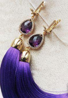 """Купить Серьги кисти """"Drop Fioletto"""" - фиолетовый, серьги кисти, серьги кисточки, сережки"""