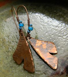 Hand Forged Copper Leaf Earring by ChrysalisToo on Etsy, $34.00