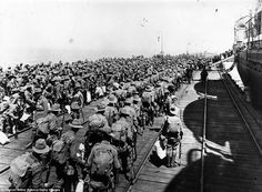 On their way: Australians soldiers embarking at Melbourne to fight in World War One in December 1914. Some 8,000 Australian soldiers died at Gallipoli