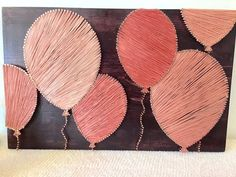 Ballon-String-Kunst von Stringything auf Etsy Balloon String Art by Stringything on Etsy . String Art Diy, String Art Tutorials, String Crafts, String Art Patterns, Diy Wall Art, Doily Patterns, Resin Crafts, Dress Patterns, Wall Decor