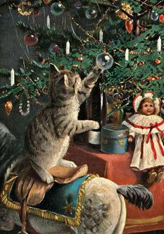Old Russian Christmas postcard. Before 1917. Beautifully decorated Christmas tree, a kitten is playing with an ornament. #Russian #art #vintage #postcard
