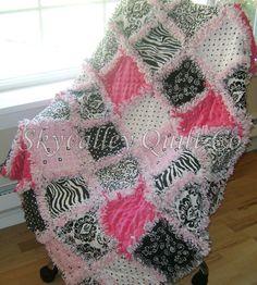 Baby or girl Rag quilt Mod hot pink and black damask, zebra, and dots cotton sampler