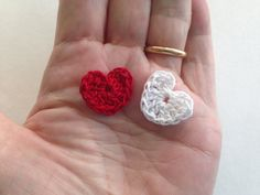Tiny hearts applique cotton crochet by LittleFlowerbyGloria
