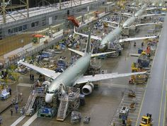 Next-Generation 737s line up nose-to-tail on a moving production line, speeding along at a rate of two inches a minute through the final assembly process. The moving line, one of several Lean Manufacturing tactics used at the Renton, Wash., facility, has enhanced quality and reduced flow time and inventory levels.