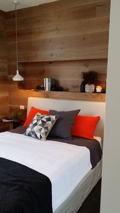 Shelf above bed Bed Wall, Bedroom Wall, Bedroom Ideas, White Wooden Bed, Shelf Above Bed, Timber Walls, Bedroom Styles, Beautiful Bedrooms, Decoration