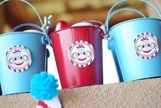 vintage sock monkey theme with red and aqua accents Sock Monkey Baby, Sock Monkey Birthday, Monkey Birthday Parties, Baby Boy 1st Birthday, Birthday Ideas, Birthday Fun, Cookies Decorados, 233, Party Time