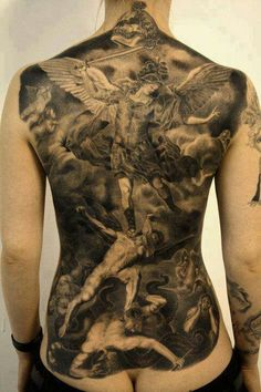 3D Archangel Tattoos On Full Back