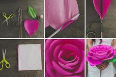 Bricoler des fleurs - fabriquer une énorme rose