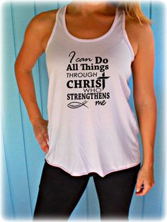 bcca14516c1b This fitness tank top has a bible verse screen printed on it