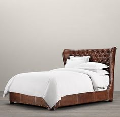 Churchill Leather Framed Bed : tufted wingback + nailhead trim | Restoration Hardware
