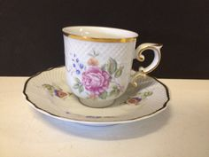 Likely Vintage Hollohaza Hungary Porcelain Cup & Saucer w/ Floral Decoration My Spring, Tea Cup Saucer, Main Colors, Teacups, Morning Coffee, Afternoon Tea, Hungary, Tea Time, Fancy