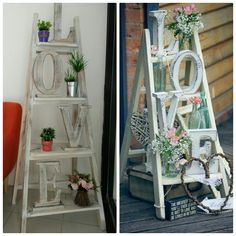 New ladder decoration,  Idea from pinterest that come to a real thing