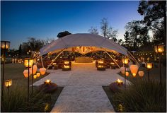 Gypset : Yes to a party under this tent! Geodesic tent structure by Gypset Luxury Tents, Luxury Camping, Outdoor Spaces, Outdoor Living, Outdoor Decor, Tent Design, House Design, Lightweight Tent, Outdoor Restaurant
