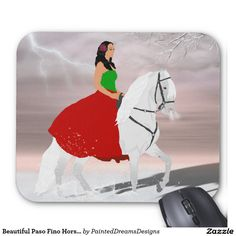 Beautiful Paso Fino Horse and Rider in Snow Mouse Pad