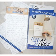 AquaNotes Waterproof Notepad - http://www.coolgizmogadgets.com/aquanotes-waterproof-notepad/