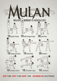 Mulan workout..... Cause who wouldn't love a female Disney character with a sword and muscles!