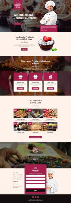 King Baker's is a clean and modern landing page template with ultimate design and layout. Specially crafted for food, #bakery, cafe, pub & restaurant #websites. Fully responsive and built with Bootstrap 3.x. #landingpage #Template