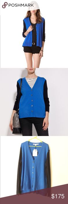 NWT Diane Von Furstenberg DVF sweater cardigan L Brand new with tag. Size L. Very beautiful!  69% wool, 14% silk, 8% cashmere. Very soft and comfy. Retail $325+tax. Diane von Furstenberg Sweaters