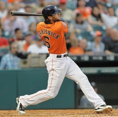 Houston Astros' Jake Marisnick (6) hits a home run in the second inning against the Seattle Mariners in a baseball game Friday May 1, 2015 in Houston. (AP Photo/Bob Levey)