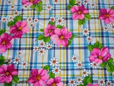 "Vintage Plaid with Mod Flowers Ribbed Cotton Fabric 44.5"" x 2 yds"