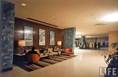 Lobby, International Hotel. Vintage Photographs of Idlewild Airport, 1961 | grayflannelsuit.net