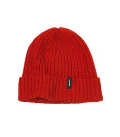 e77f02d42 A classic ribbed beanie in red in 100% Merino wool. Keeps the wind out