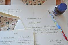 Invitaciones de boda con sobres forrados en mariposas VINTAGE, by Silvia Galí Invitaciones. www.silviagali.com