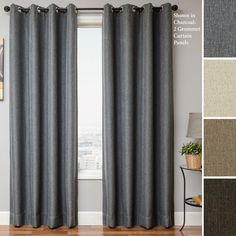Beautiful Curtain By Jc Penneys Curtains For Window Decor Ideas: Solid Grey Blackout Curtain By Jc Penneys Curtains With Dark Curtain Rod For Window Covering Ideas