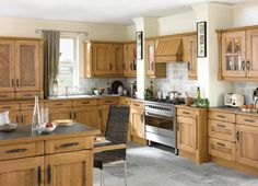 A pippy oak country kitchen in a timeless shaker style with vertical beading.