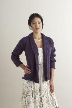 Free Knitting Pattern 60743AD Shawl-Collared Cardigan : Lion Brand Yarn Company