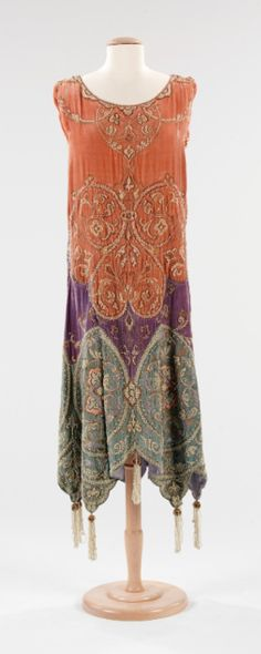 "Vintage ""Boho-Glam"" ~ Evening dress Callot Soeurs (French, active 1895–1937) Designer: Madame Marie Gerber (French) Date: ca. 1923 Culture: French Medium: silk, metal, pearl"