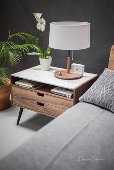 Nightstand with two drawers in solid Walnut / Oak wood board