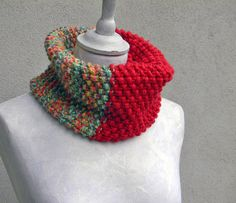 Chunky knit cowl neckwarmer. Wool cowl. Mixed colors by ylleanna, €54.00