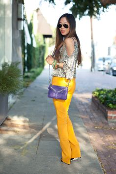 Purple~Mustard~Fall Look ! Mustard Fashion, Mustard Pants, Fall Looks, Retail Therapy, My Images, Bell Bottom Jeans, Style Inspiration, Chic, My Style