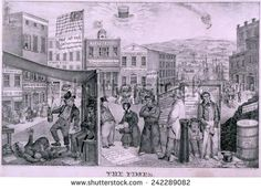 The Times depicts the impact of the financial Panic of 1837. Rich detail show a bank run, homeless women and child, unemployed men, closed factory, and sheriff's auction.