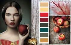 "The color palette  in ""Apple Garden "" is inspired by the vibrant prints of flowers, fruits, leaves and magical fire birds found in eastern European decorative art and the old folk tales carrying romanticism and wisdom. Red is sensual, well balanced with elegant neutrals. The dark teal enhances the effect of the warm colors, adding harmony and wintery appeal. -   See more at: http://csicolorworld.com/blog/fw-14-15-color-inspirations-apple-garden#sthash.GVxodjs3.dpuf"
