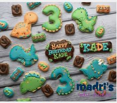 "Madri Mahtani on Instagram: ""Dinos for Kade's birthday #madriscookiekitchen #decoratedcookies #dinosaur #grandrapidsmi #grandrapids"""
