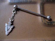 Industrial Piercing Barbell Arrowhead Bar Arrow by Azeetadesigns, $16.00