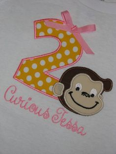 Birthday Girl Curious George Second Birthday Shirt with Bow for Girls