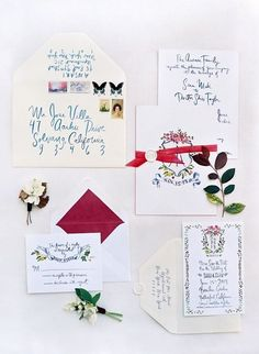 Lively and colorful wedding invitations with red details, perfect for a garden themed wedding.