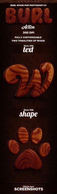 Burl Wood Photoshop Action - Text Effects Actions #PhotoshopSkillsDoubleExposure #CreativePhotography